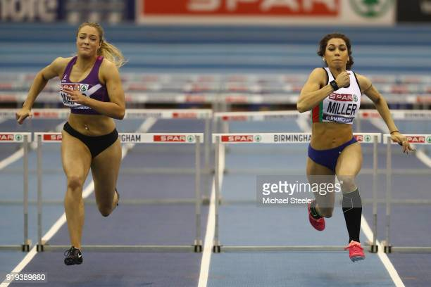 Megan Marrs of Hounslow wins the women's 60m hurdles final from Yasmin Miller of Derby AC during day one of the SPAR British Athletics Indoor...
