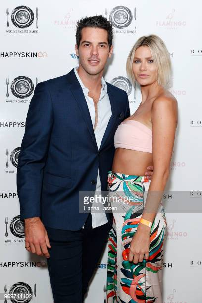 Megan Marx and Jake Ellis attend the Paradise Party at Flamingo Lounge on June 8 2018 in Sydney Australia