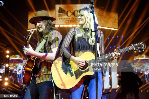 Megan McAllister Mason Van Valin and Elijah Edwards from Fairground Saints performs at C2C Country to Country at The O2 Arena on March 09 2019 in...