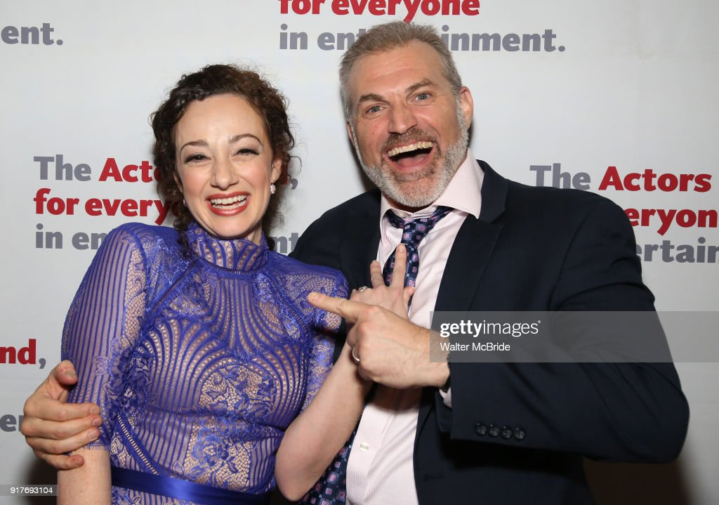 Megan McGinnis and Marc Kudisch attend the after party for the Actors Fund's 15th Anniversary Reunion Concert of 'Thoroughly Modern Millie' on February 18, 2018 at the Opry City Stage in New York City.