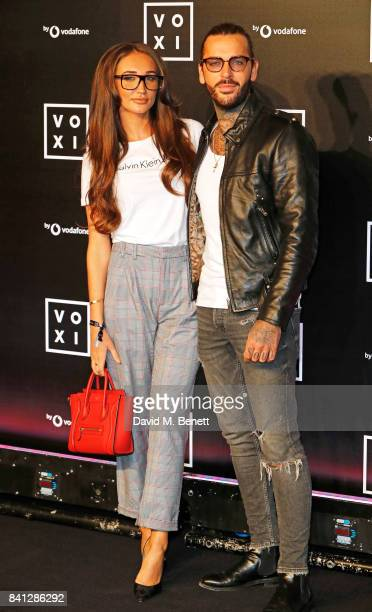 Megan McKenna and Pete Wicks attend the VOXI launch party at Brick Lane Yard on August 31 2017 in London England
