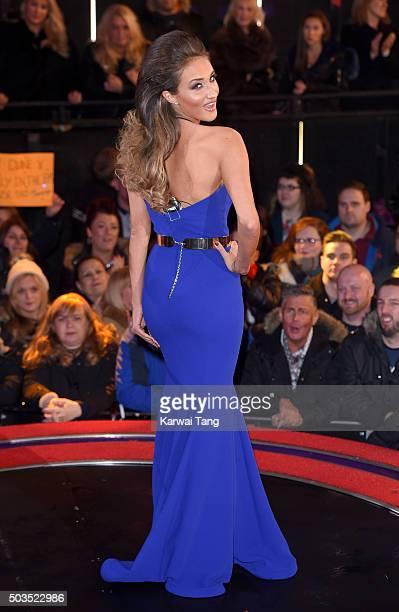 Megan McKenna enters the Celebrity Big Brother House at Elstree Studios on January 5 2016 in Borehamwood England