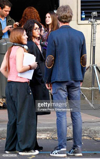 Megan Montaner and Eloy Azorin are seen on the set filming of 'Sin Identidad' on October 22 2014 in Madrid Spain