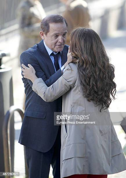Megan Montaner and Jordi Rebellon are seen during the set filming of tv serie 'Sin Identidad' on April 8 2014 in Madrid Spain