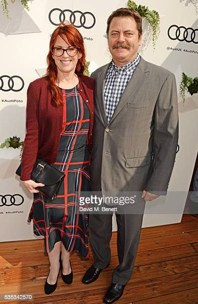 Megan Mullally and Nick Offerman attend day two of the Audi Polo Challenge at Coworth Park on May 29 2016 in London England