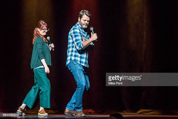 Megan Mullally and Nick Offerman perform during the 'Summer Of 69 No Apostrophe' tour at Beacon Theatre on August 23 2016 in New York City