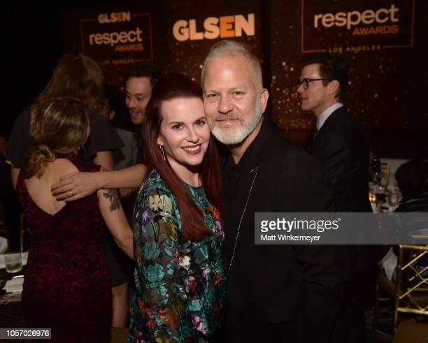 Megan Mullally and Ryan Murphy attend the GLSEN Respect Awards at the Beverly Wilshire Four Seasons Hotel on October 19 2018 in Beverly Hills...