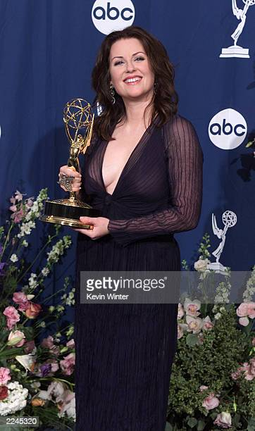 Megan Mullally of 'Will Grace' with her award for Outstanding Supporting Actress in a Comedy Series at the 52nd Annual Primetime Emmy Awards at the...