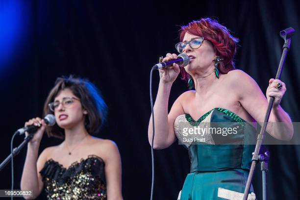 Megan Mullaly and Stephanie Hunt of Nancy and Beth perform live at the Sasquatch Music Festival at The Gorge on May 25 2013 in George Washington