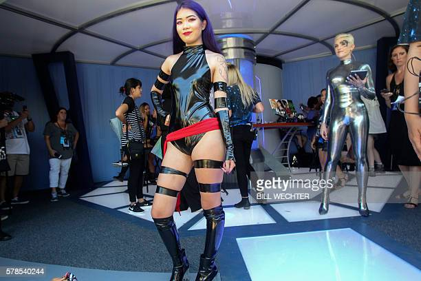 Megan Neikirk of Santa Barbara California shows off her character Psylocke from the movie XMen during ComicCon International 2016 in San Diego...