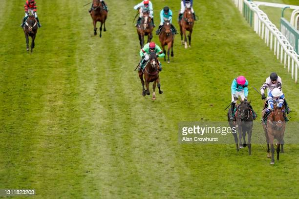 Megan Nicholls riding Knappers Hill win The Weatherbys nhstallions.co.uk Standard Open NH Flat Race at Aintree Racecourse on April 10, 2021 in...