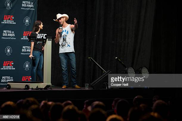 Megan Olivi and Donald Cowboy Cerrone answer fan questions before the UFC 185 weighins at the Kay Bailey Hutchison Convention Center on March 13 2015...