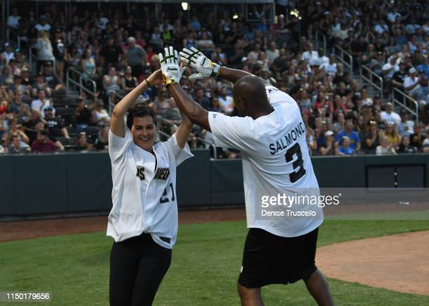 Megan Olivi and KSNV Channel News 3 anchor Bryan Salmond during the Battle For Vegas Charity Softball Game benefitting the Tyler Robinson Foundation...