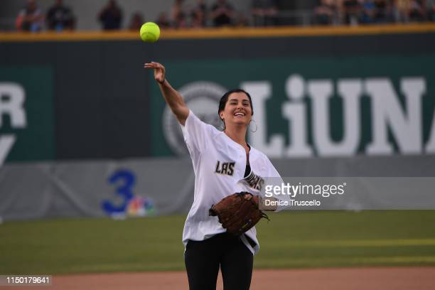 Megan Olivi during the Battle For Vegas Charity Softball Game benefitting the Tyler Robinson Foundation at Las Vegas Ballpark on June 15 2019 in Las...