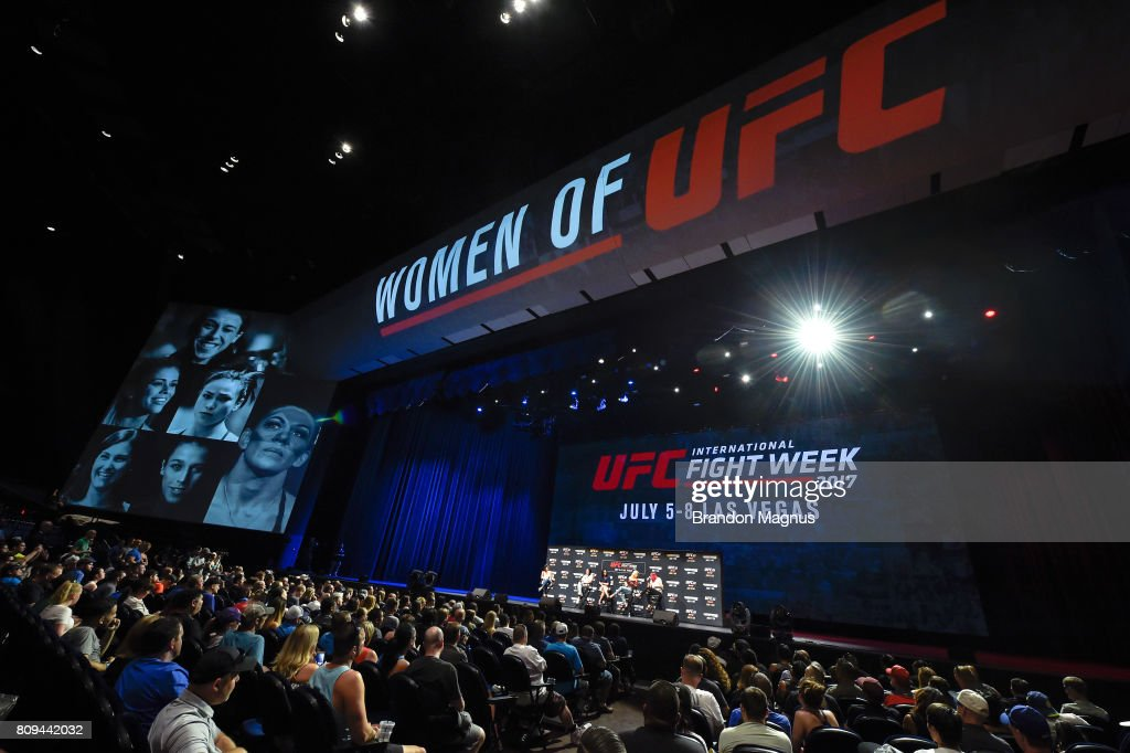 Megan Olivi hosts the Women of the UFC panel at Park Theater on July 5, 2017 in Las Vegas, Nevada.
