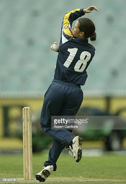 Megan Pauwels of Victoria in action during the Women's National Cricket League Finals Series match between the Vic Spirit and the NSW Breakers...
