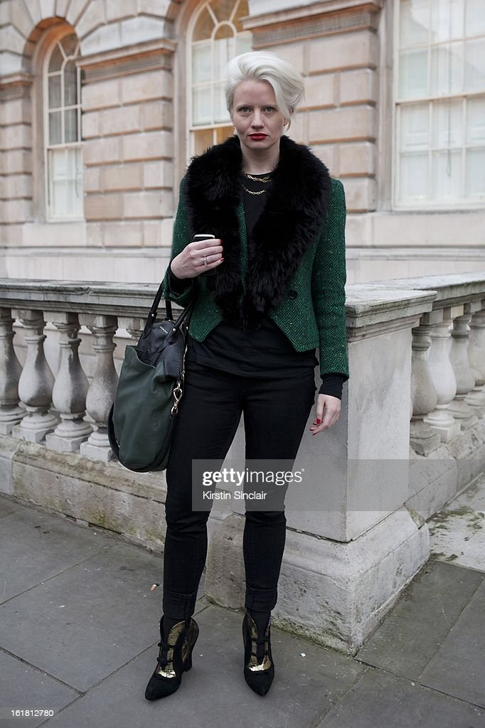 Megan Piper galerist wearing Guy Laroche jacket, Gap top, Top Shop trousers, Givenchy bag, on day 2 of London Womens Fashion Week Autumn/Winter 2013 on February 16, 2013 in London, England.