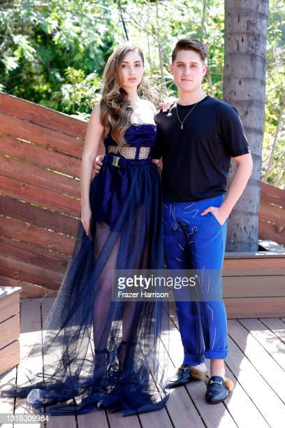 Megan Pormer and Jonathan Marc Stein attend Jonathan Marc Stein Autumn/Winter 2021 Virtual Show Debut Filming on April 29, 2021 in Studio City,...