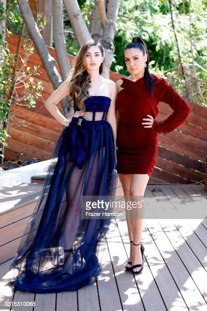 Megan Pormer and Shannon Baker attend Jonathan Marc Stein Autumn/Winter 2021 Virtual Show Debut Filming on April 29, 2021 in Studio City, California.