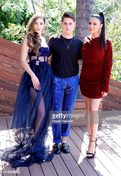 Megan Pormer, Jonathan Marc Stein, Shannon Baker, attend the Jonathan Marc Stein Autumn/Winter 2021 Virtual Show Debut Filming on April 29, 2021 in...