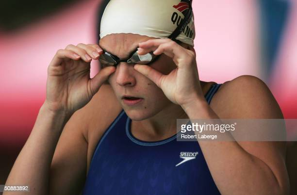 Megan Quann prepares for the preliminary round of the Women's 100 meter Free Style at the Santa Clara XXXVII International Swim Meet on May 21 2004...