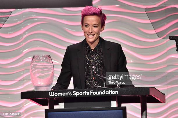 Megan Rapinoe accepts her WSF Sportswoman Of The Year Award at The Women in Sports Foundation 40th Annual Salute to Women in Sports Awards Gala,...