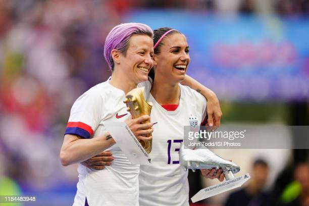 Megan Rapinoe and Alex Morgan of the United States celebrate after the 2019 FIFA Women's World Cup France final match between the Netherlands and the...