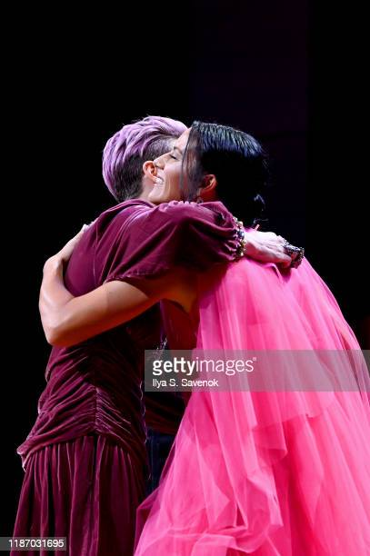 Megan Rapinoe and Ali Krieger embrace onstage at the 2019 Glamour Women Of The Year Awards at Alice Tully Hall on November 11 2019 in New York City...