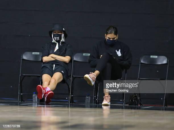 Megan Rapinoe and Marta Xargay during the game between the Seattle Storm and Chicago Sky on August 29 2020 at Feld Entertainment Center in Palmetto...