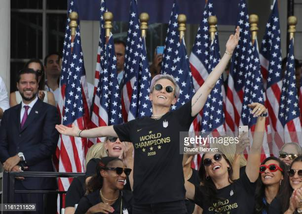 Megan Rapinoe and members of the United States Women's National Soccer Team are honored at a ceremony at City Hall on July 10, 2019 in New York City....