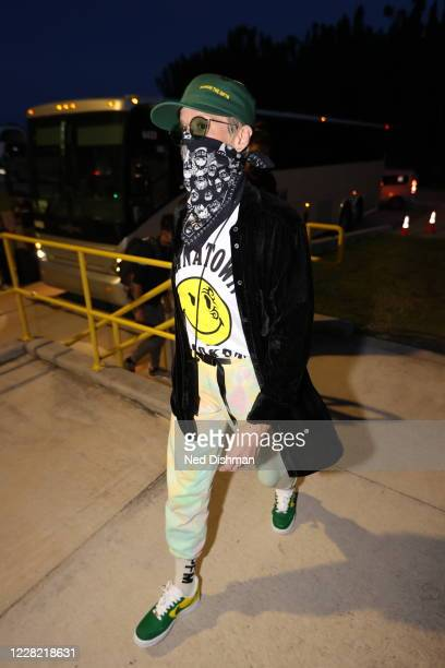 Megan Rapinoe arrives at the arena before the game between the Indiana Fever and Seattle Storm on AUGUST 25 2020 at Feld Entertainment Center in...
