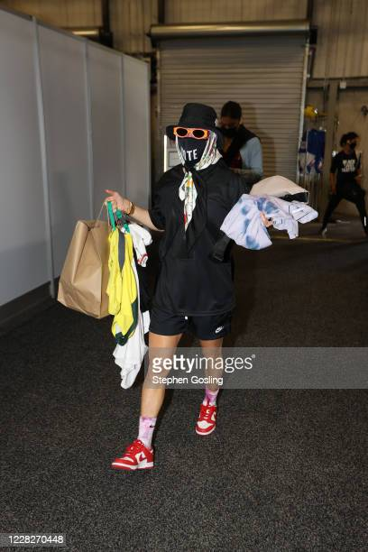 Megan Rapinoe arrives at the arena before the game between the Seattle Storm and Chicago Sky on August 29 2020 at Feld Entertainment Center in...