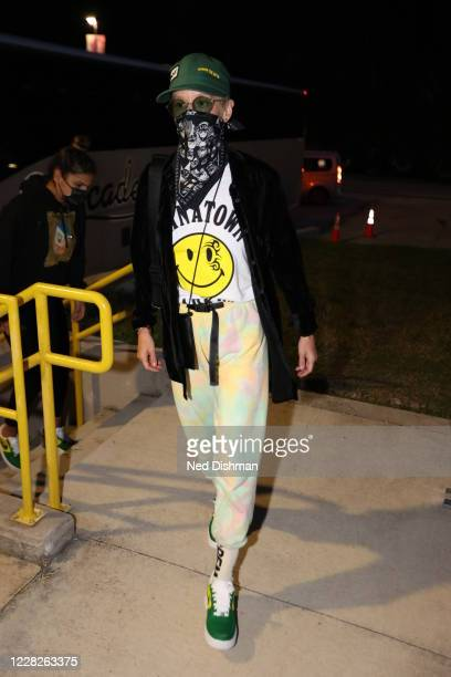 Megan Rapinoe arrives for the game between the Indiana Fever and the Seattle Storm the on AUGUST 25 2020 at Feld Entertainment Center in Palmetto...