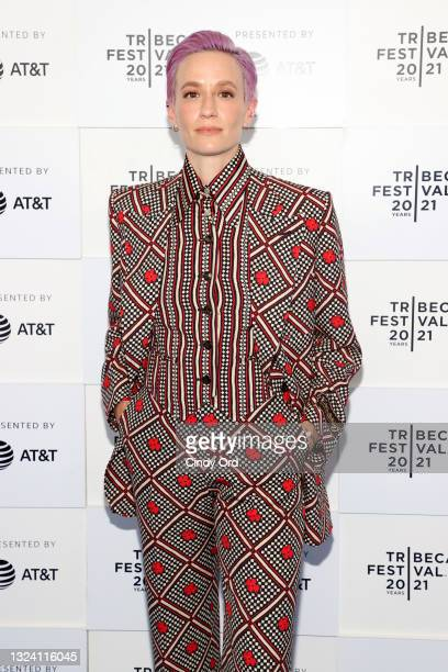 """Megan Rapinoe attends the """"Let's F*****g Go"""" premiere during the 2021 Tribeca Festival at Battery Park on June 17, 2021 in New York City."""
