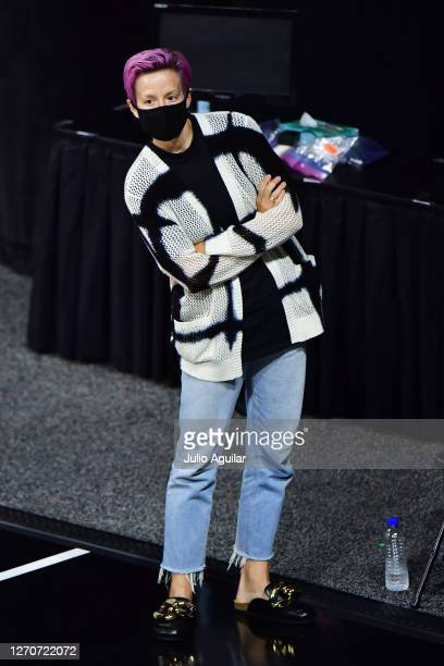 Megan Rapinoe looks on during a game between the Los Angeles Sparks and the Seattle Storm at Feld Entertainment Center on September 04 2020 in...