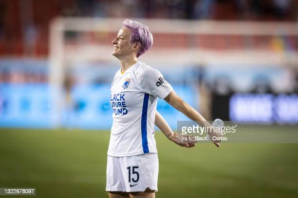 Megan Rapinoe of OL Reign takes in the appreciation from fans after the match against NJ/NY Gotham FC at Red Bull Arena on June 5, 2021 in Harrison,...