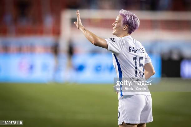 Megan Rapinoe of OL Reign waves to fans after the match against NJ/NY Gotham FC at Red Bull Arena on June 5, 2021 in Harrison, New Jersey.