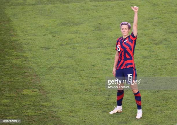Megan Rapinoe of Team United States celebrates after scoring their side's second goal during the Women's Bronze Medal match between United States and...