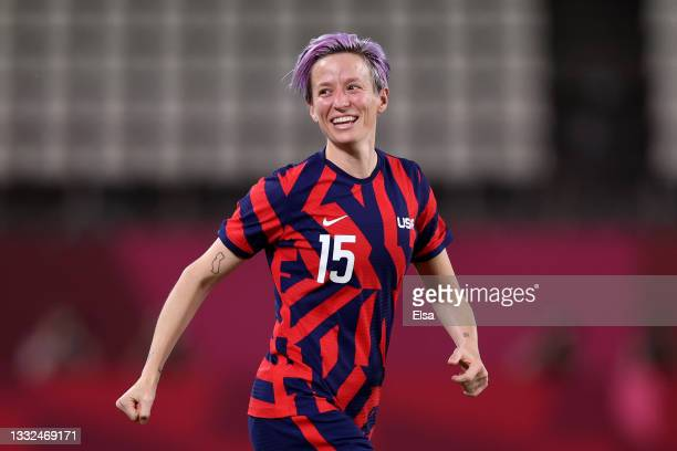 Megan Rapinoe of Team United States celebrates their side's victory after the Women's Bronze Medal match between United States and Australia on day...