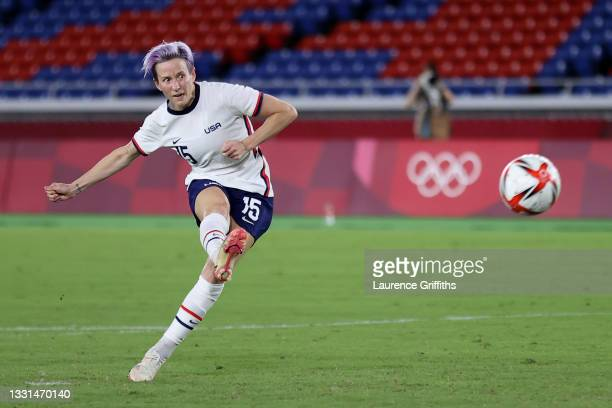 Megan Rapinoe of Team United States scores their sides winning penalty in the penalty shoot out during the Women's Quarter Final match between...