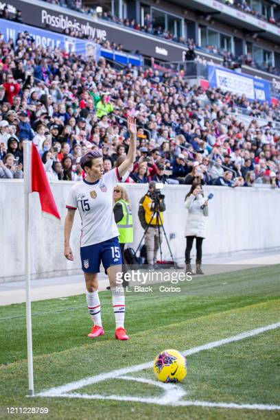 Megan Rapinoe of the goes to take the corner kick during 2020 SheBelieves Cup match between United States and Spain sponsored by Visa. The match took...
