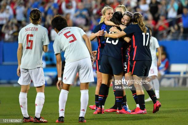 Megan Rapinoe of the United States and Tobin Heath hug Christen Press after her goal during the first half of the SheBelieves Cup match against Japan...
