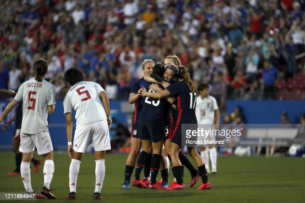 Megan Rapinoe of the United States celebrates a goal by Christen Press against Japan during the first half of the 2020 SheBelieves Cup at Toyota...