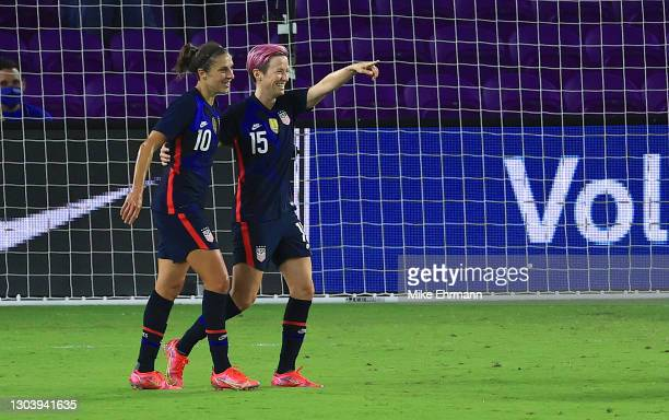 Megan Rapinoe of the United States celebrates a goal with Carli Lloyd during a match against Argentina in the SheBelieves Cup at Exploria Stadium on...