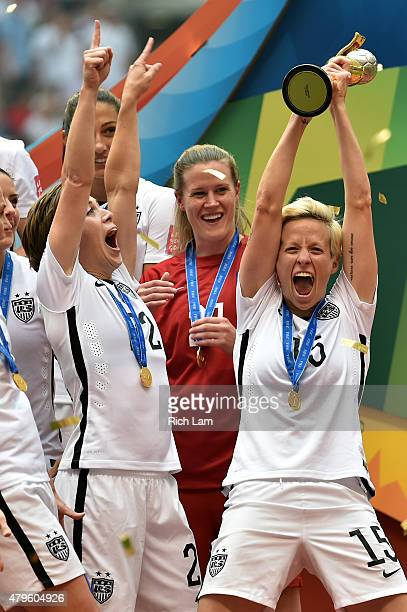 Megan Rapinoe of the United States celebrates after winning the FIFA Women's World Cup Canada 2015 5-2 against Japan at BC Place Stadium on July 5,...