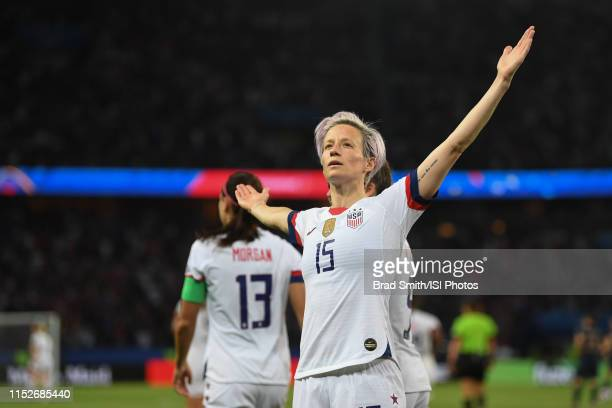 Megan Rapinoe of the United States celebrates scoring during the 2019 FIFA Women's World Cup France quarter-final match between France and the United...