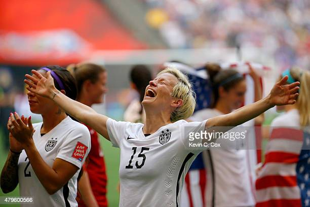 Megan Rapinoe of the United States celebrates the 52 victory against Japan in the FIFA Women's World Cup Canada 2015 Final at BC Place Stadium on...