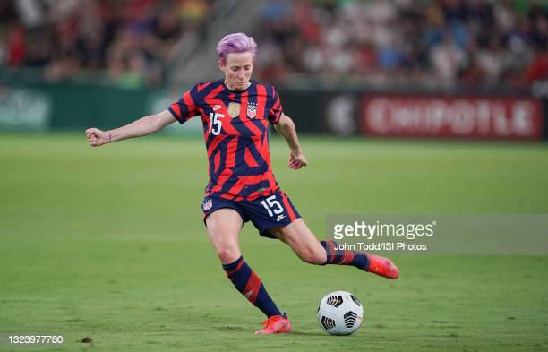 Megan Rapinoe of the United States crosses the ball against Nigeria during a WNT Summer Series game at Q2 Stadium on June 16, 2021 in Austin, Texas.
