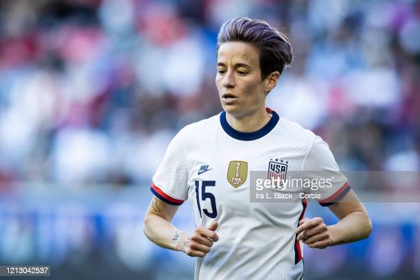 Megan Rapinoe of the United States heads to take the corner kick during the 1st half of the 2020 SheBelieves Cup match between United States and...