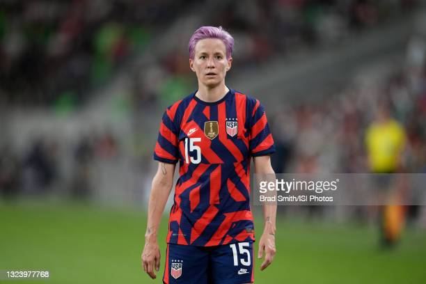 Megan Rapinoe of the United States looks on during a WNT Summer Series game against Nigeria at Q2 Stadium on June 16, 2021 in Austin, Texas.